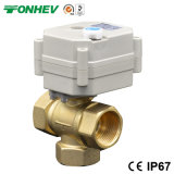 3/4'' 3-Way Vertical T Type Motorized Brass Ball Valve for Solar Heating