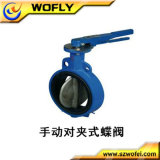 Dn 50 Cast Iron Wafer PTFE Lined Butterfly Valve