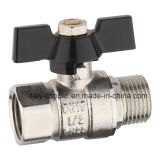 Male Brass Nickel Ball Valve with Butterfly Handle (AV10058)