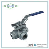Stainless Steel Reduced Bore Threaded End 1000wog 3 Way L Type Ball Valve with Mounting Pad