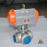 CF8 Pneumatic 3 Way Threaded Ball Valve
