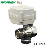 Dn15 1/2'' 3-Way Nickel Plated Brass Ball DC5V/12V/24V Electric Flow Control Valve