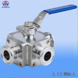 Stainless Steel Clamp Square Ball Valve with Three Pipe Channel